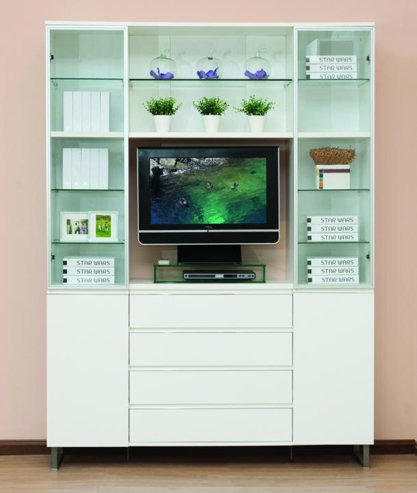 Шкаф книжный с нишей под tv - каталог товаров - planium.
