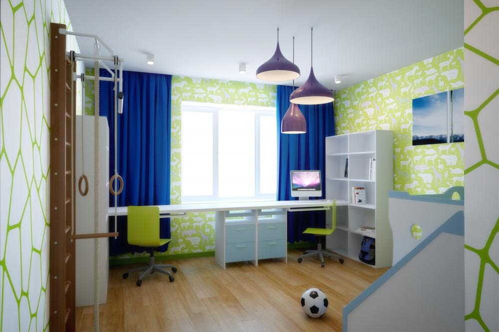 Детская комната, рассчитанная на двоих активных детей, сдела.